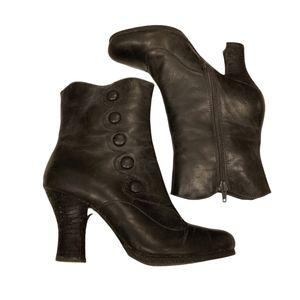Miz Mooz Button Detail Leather Ankle Boots